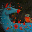 Romeo - Blue Horse and Owl Oil Painting