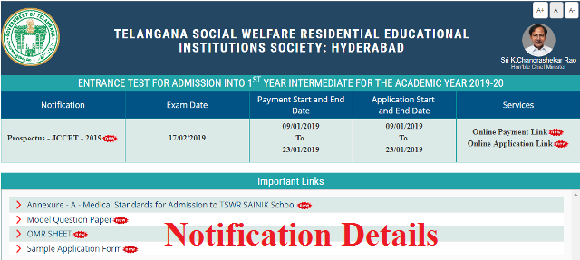 Telangana TSWREIS Inter 1st Year Admissions 2019 Notification Get Details. TS Residential Inter Admission 2019. Telangana Social Welfare Junior Inter Admissions Entrance Exam Notification Online Application Form Telangana Social Welfare Residential Educational Institutions Society released Inter First Year Admission Admission Entrance Test 2019 Notification Apply Online Selection Procedure Downloading of Hall Tickets Exam Dates Results. Telangana TSWRJC CET 2019 Important Date . Telangana TSWRIES Invites Online Application Form from SSC 10th Class Passed/Appearing Boys and Girls to get Admission into Junior Intermediate Colleges who are running under TSWREIS, Telangana Hyderabad. tswreis-inter-admission-2019-entrance-test-telangana-social-welfare-junior-inter-cet-notification-get-details