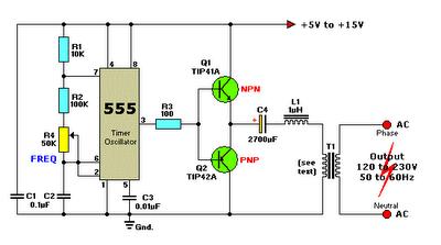 12vdc to 220vac inverter circuit using ic 555 schematic ... 220 vac wiring diagram