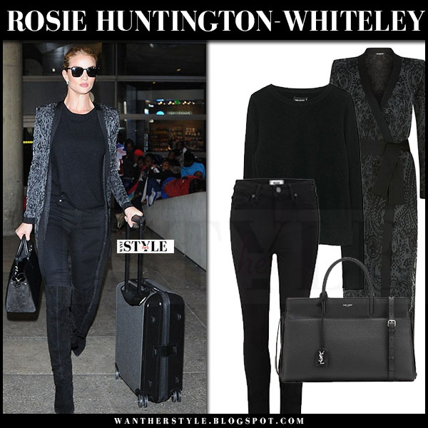 Rosie Huntington-Whiteley in black paisley print long balmain cardigan, black jeans paige denim and black suede boots saint laurent what she wore