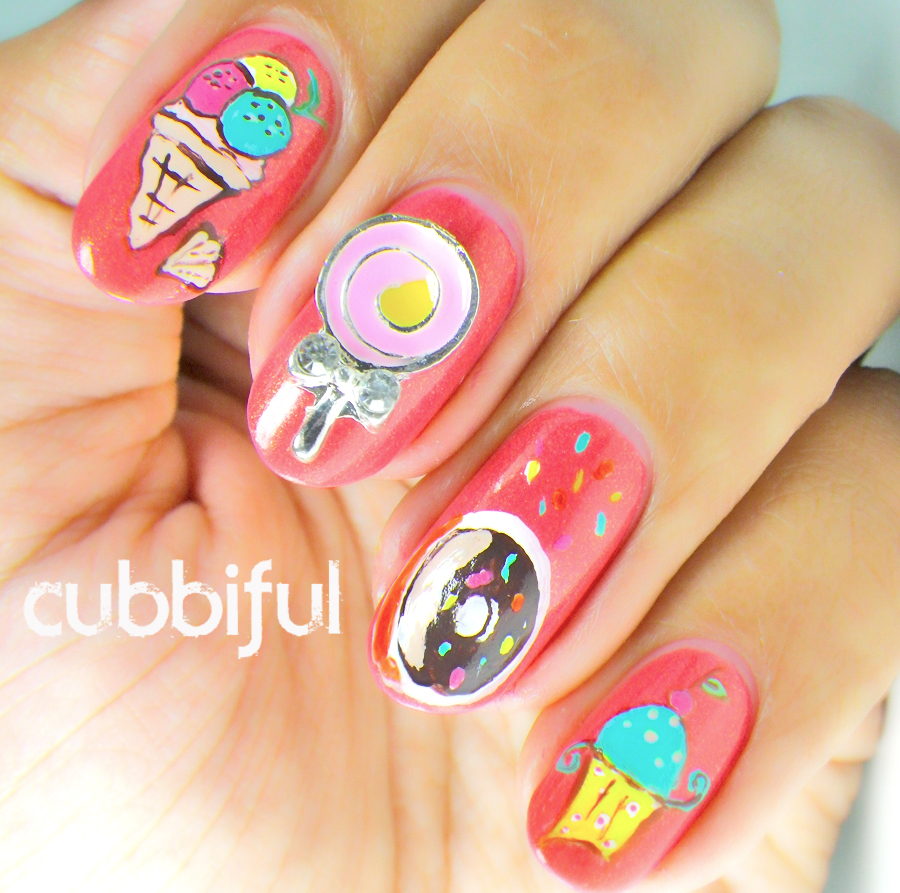 icecream and donuts nails