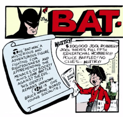 Detective Comics (1937) #28 Page 1 Panel 1: Brief Summary of Batman (for first-timers who missed out on last issue)