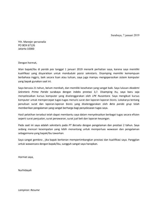 Surat Lamaran Kerja Terbaru Tahun 2020 Dan Komponen Penting