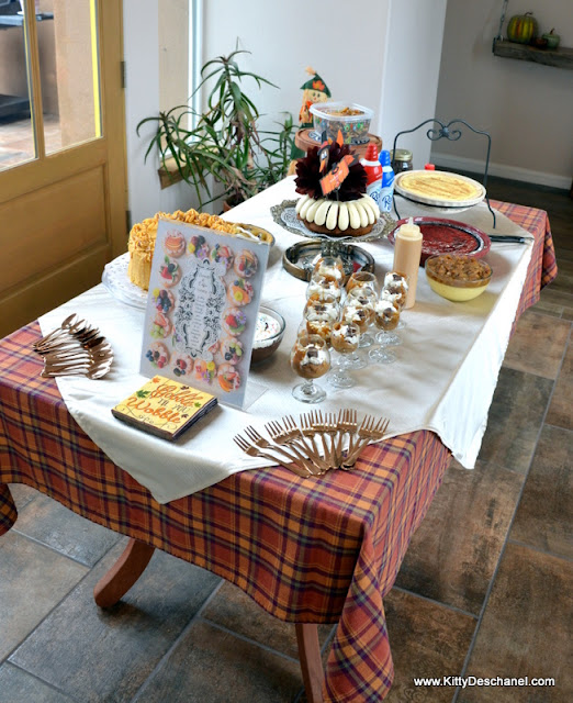 dessert table set for thanksgiving