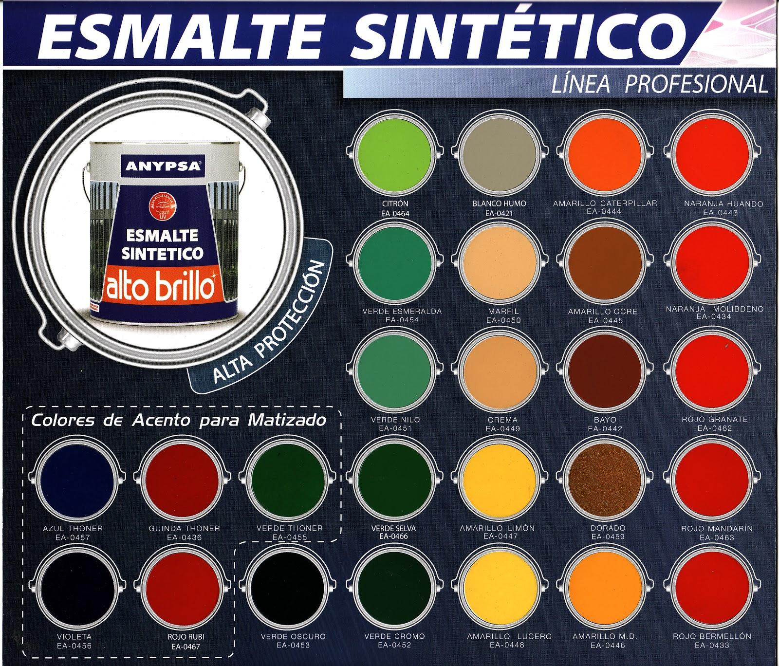 Todo pinturas industriales y decorativas carta de colores - Gama colores pintura ...