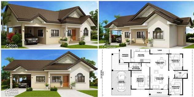 Plano de una casa moderna de una sola planta de tres dormitorios