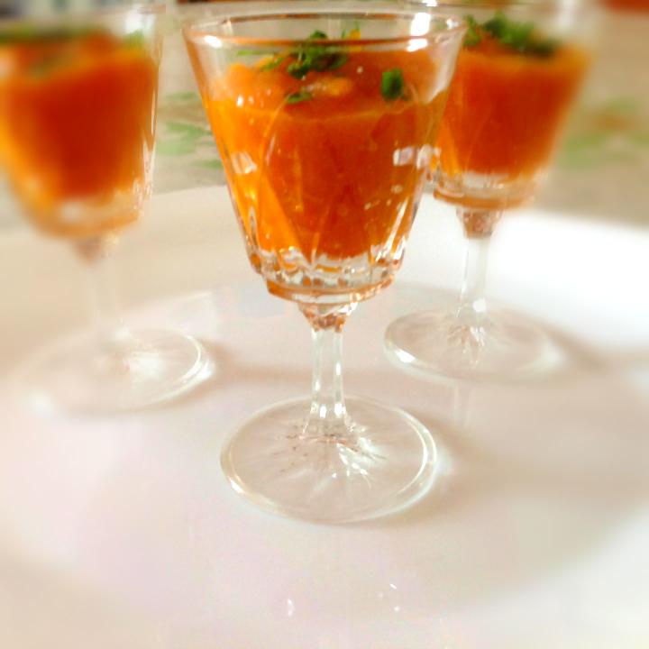 verrines de soupe froide carottes et oranges mes recettes r ussies. Black Bedroom Furniture Sets. Home Design Ideas