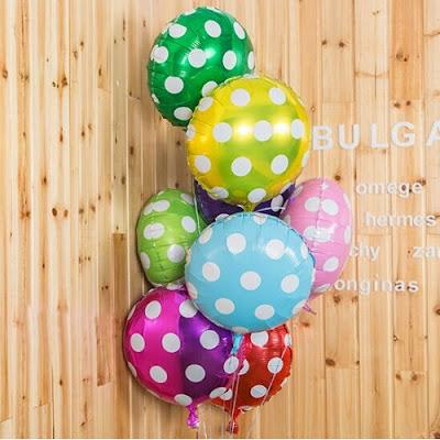Balon Foil Bulat Polkadot