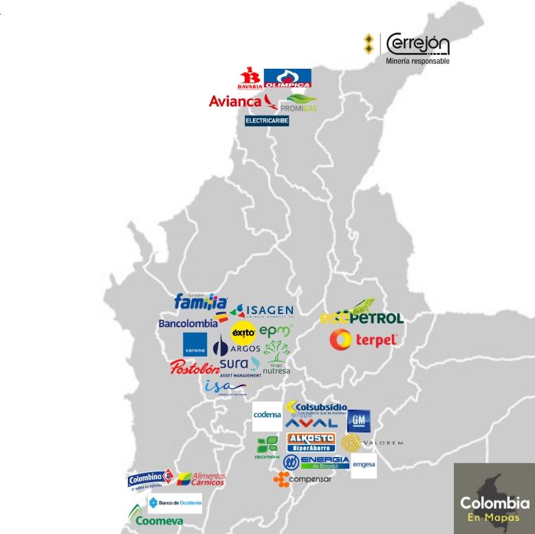 mapa de las mayores empresas originarias de Colombia por ciudad
