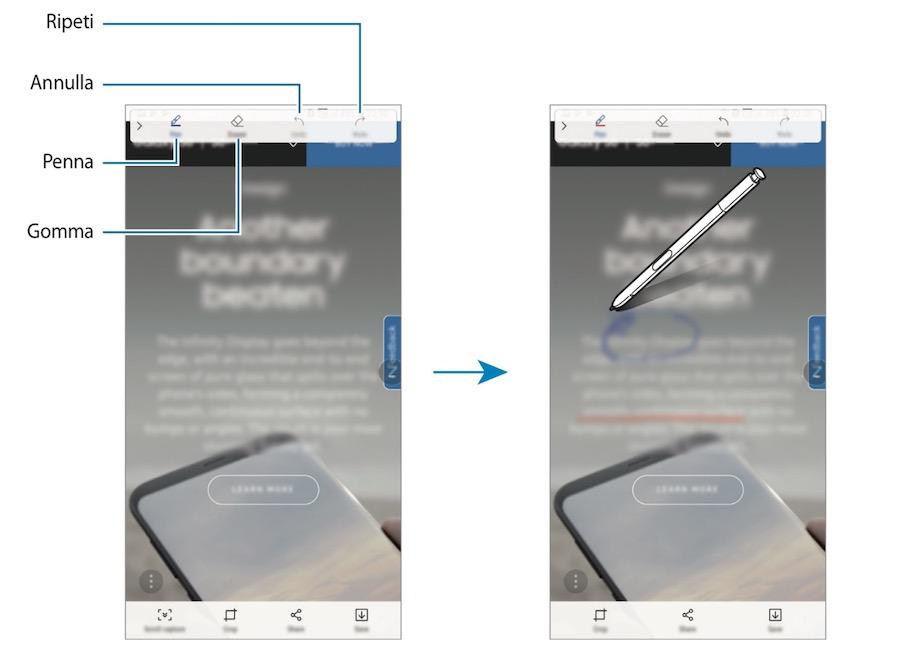 Come fare la foto allo schermo del Note 8 tramite Air command usando la S Pen