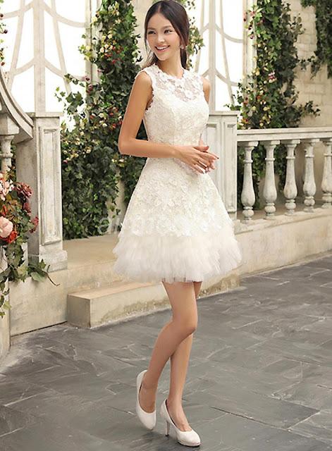 charmant genou la robe de mariée de fleurs scoop encolure ivoire dentelles