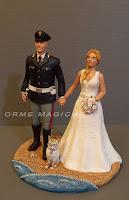 statuette sposi sposo in divisa polizia cake top uniforme realistica orme magiche