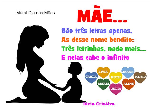 Sugestão Mural Dia das Mães com Participação das Crianças e Molde de Silhueta