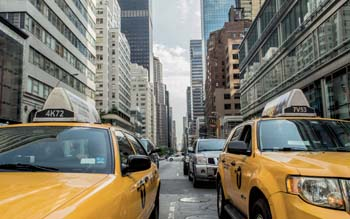 Wallpaper: Yellow cabs and skyscrapers