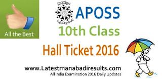 APOSS SSC Hallticket 2016 Download from 15 April 2016, APOSS 10th Class Hall Ticket April 2016, AP Open School Exams 2016 Hall Ticket by Name wise / School wise