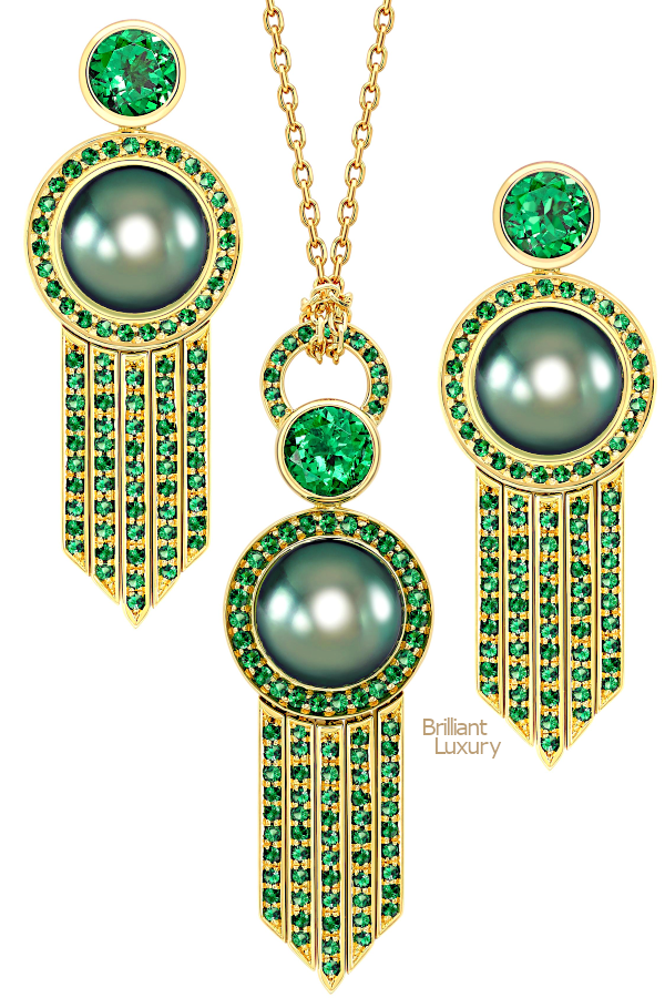 Brilliant Luxury♦Ana de Costa Yellow Gold Tahitian Pearl Tsavorite Deco Drop Earrings and Pendant