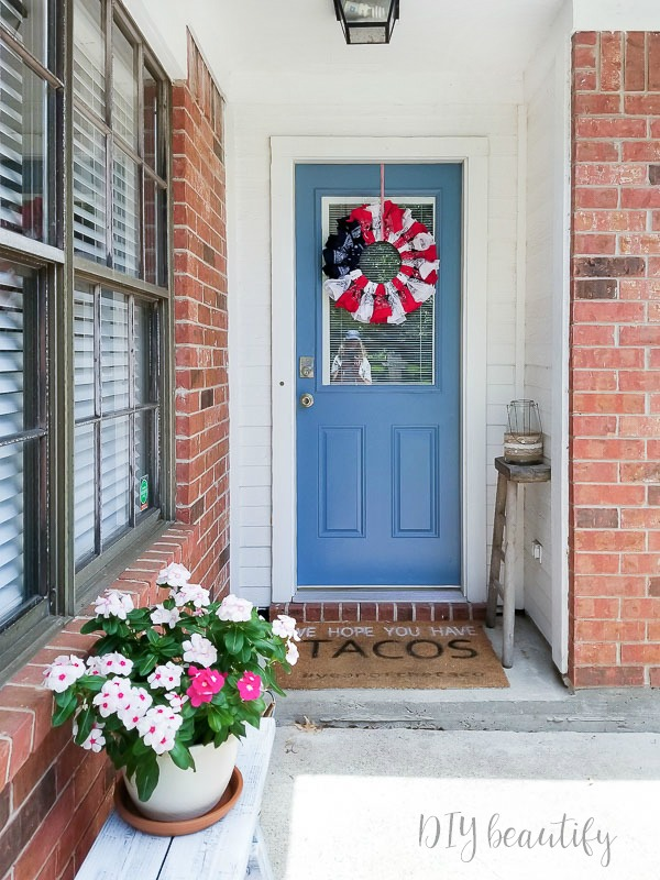 painted door and bandana wreath