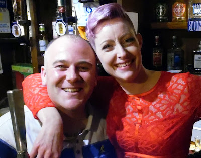 Picture: Britannia Inn landlord Shane Garrett with customer Gemma Chelton at a Christmas 2018 event held at the Wrawby Street hostelry on December 22 - see Nigel Fisher's Brigg Blog