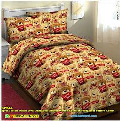 Sprei Custom Katun Lokal Anak Bear Allover Kartun Karakter Teddy Bear Pattern Coklat