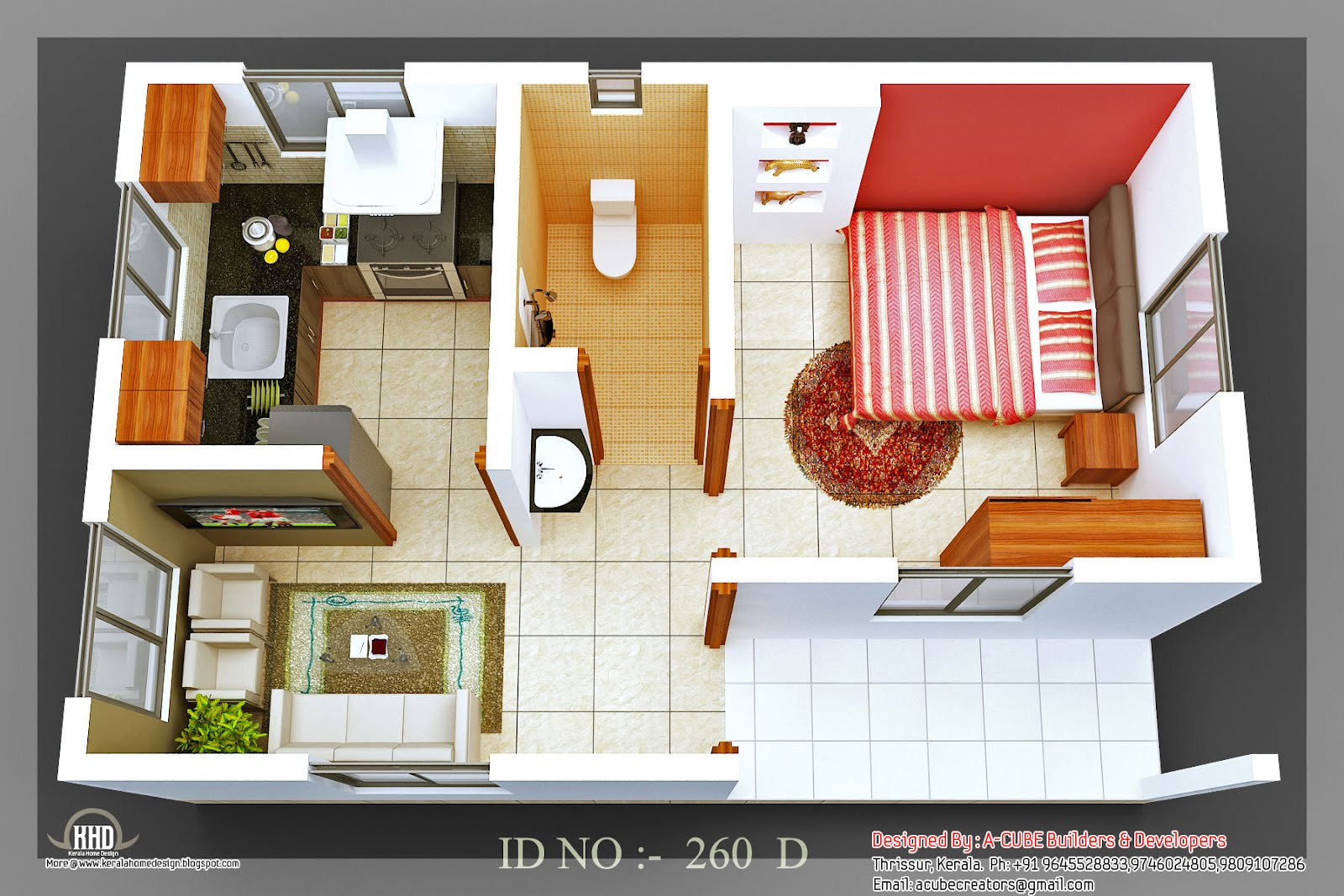 3D isometric views of small house plans - Kerala home design and floor plans - 8000+ houses