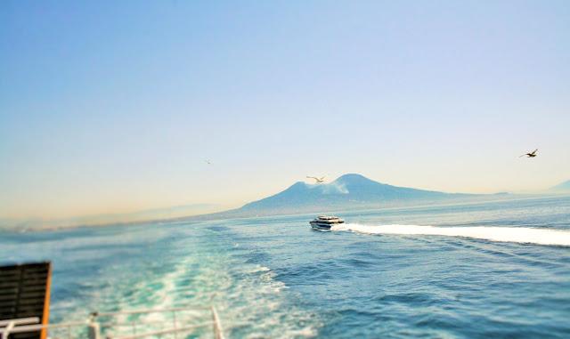 mare, acqua, scia mare, traghetto, gabbiano, volatile, uccello, Vesuvio, monti