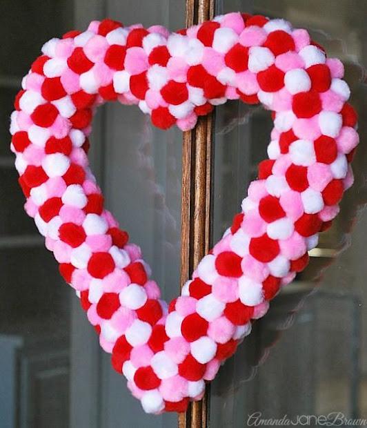 valentine pom pom wreath