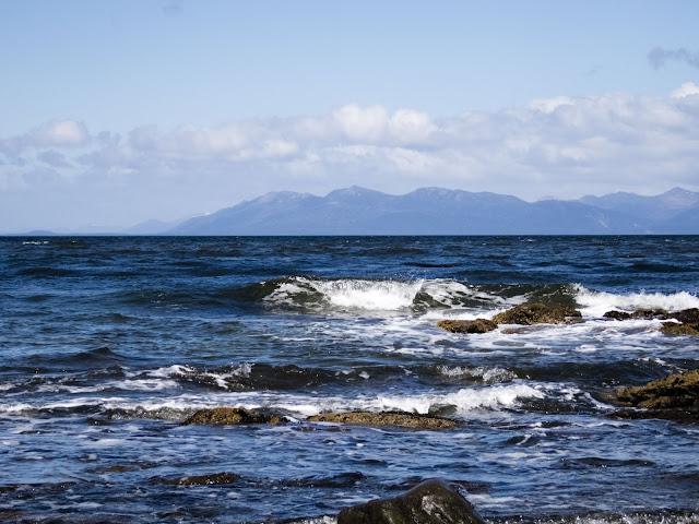 White-cap wave on the Strait of Magellan near Punta Arenas Chile