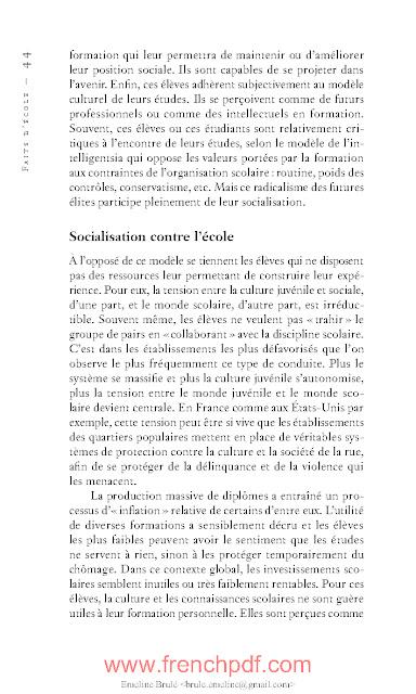 Faits d'école par François Dubet PDF Gratuit