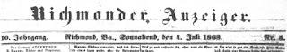 Richmonder Anzeiger. 10. Jg, Nr. 5, Sa., den 4. Juli 1863, S. 1
