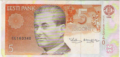 Paul Keres en un billete de Estonia de 1994