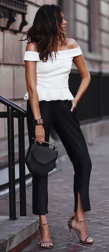 amazing office style idea: top + pants + bag + heels