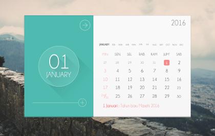 Download Flat Desain Template Kalender 2016 Gratis