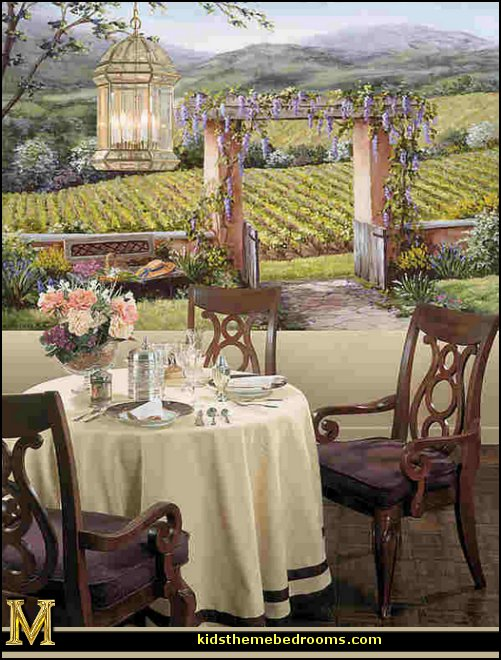 Italian Villa Wallpaper Murals Tuscany Vineyard Style Decorating   Tuscan  Wall Mural Stickers   Tuscan Themed