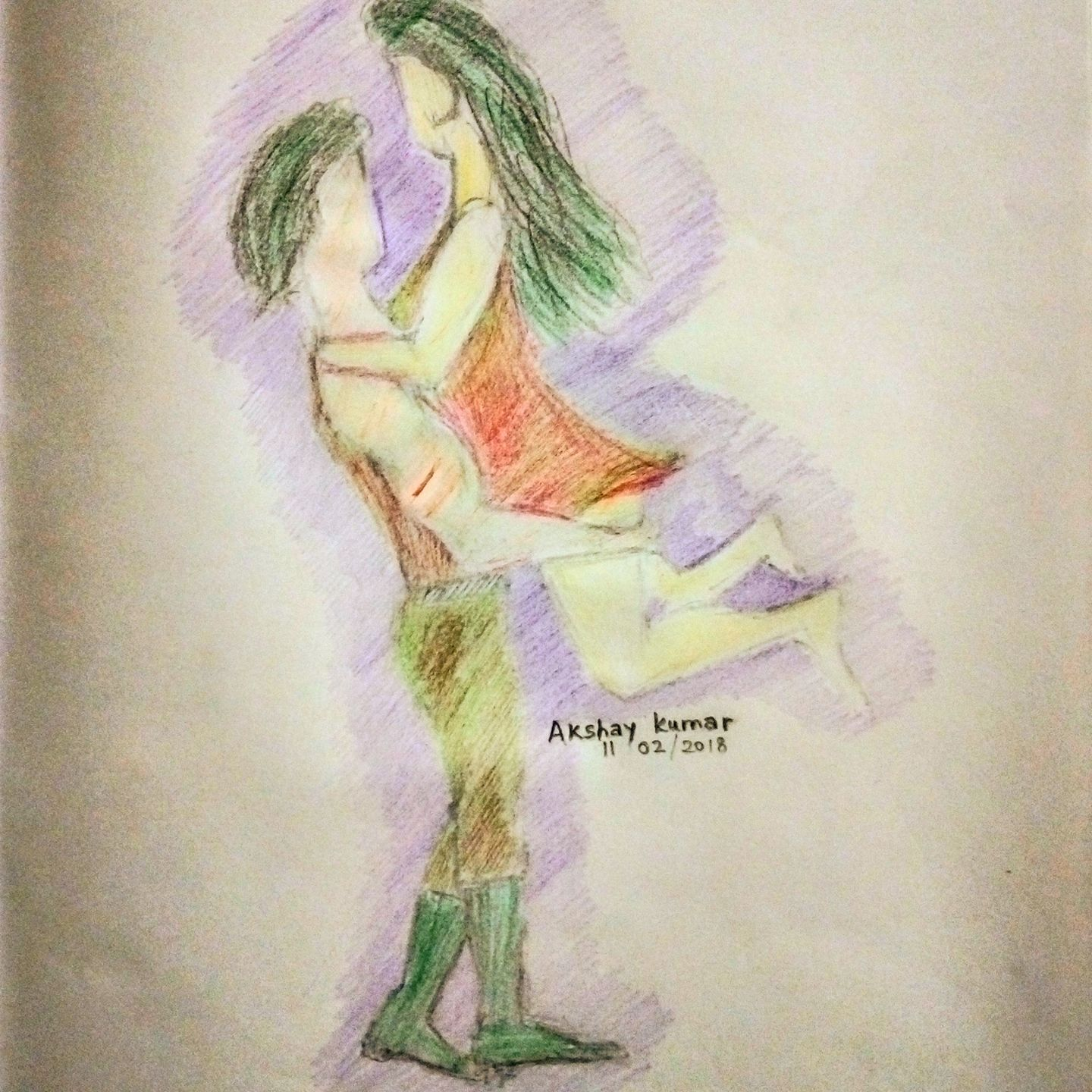 Color pencil drawing of love couple by artist akshay kumar