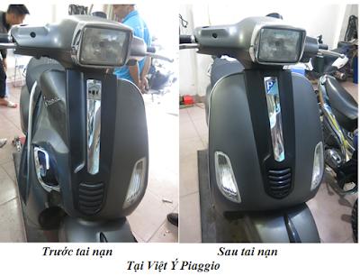 Chuyên phục hồi xe Piaggio Vespa tai nạn tại Hà Nội