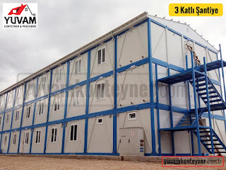 3 kata kadar yükselttiğimiz konteyner şantiye binaları