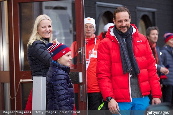 Crown Princess Mette-Marit of Norway, Princess Ingrid Alexandra of Norway and Crown Prince Haakon of Norway attend the FIS Nordic World Ski Championships