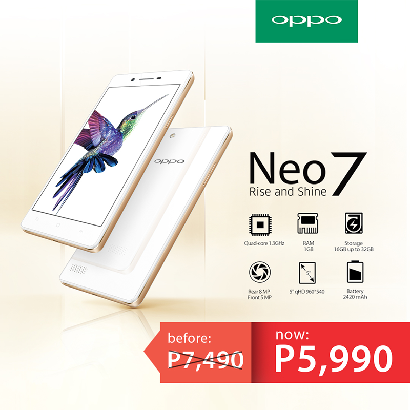 Oppo Neo 7 priced at 5,990 Pesos