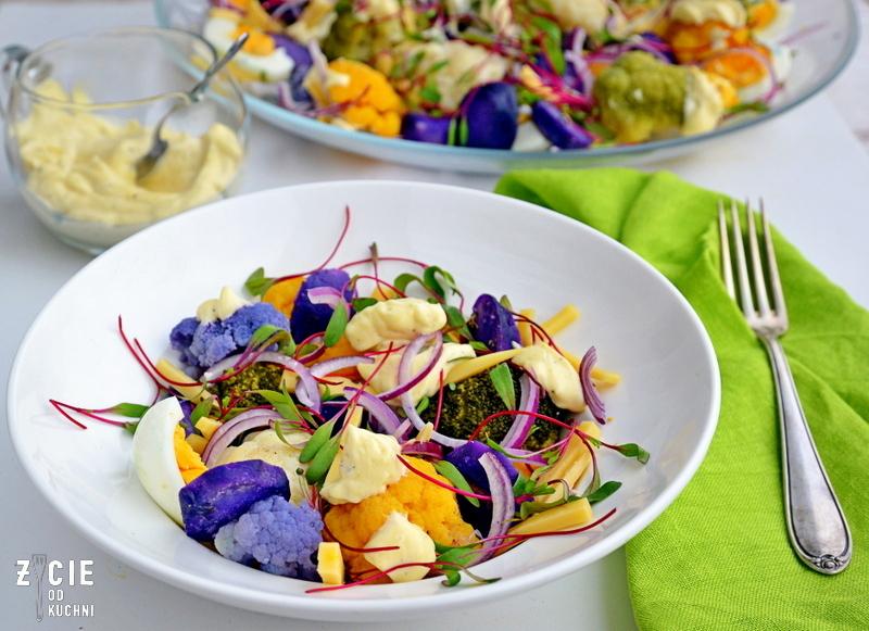 fioletowy kalafior, kolorowe kalafiory, fowizm, sztuka i kulinaria, pomaranczowy kalafior, zielony kalafior, fowistyczna salatka kalafiorowa, fioletowy ziemniak, ziemniak truflowy, kolorowa salatka, zyce od kuchni