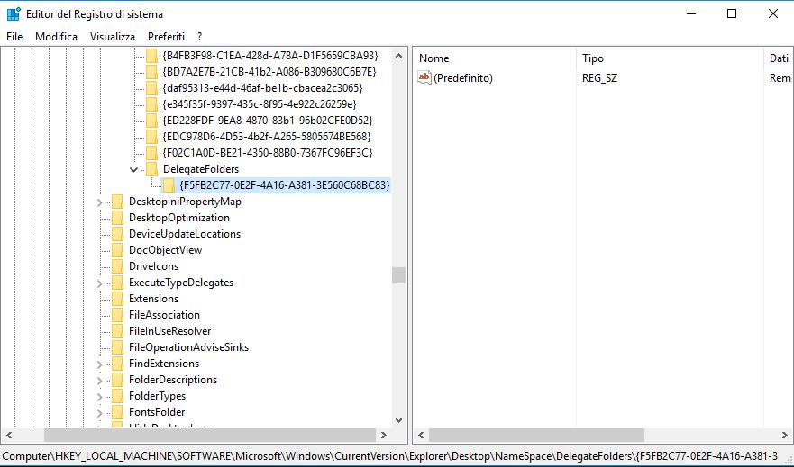 Windows 10,  rimuovere la chiave {F5FB2C77-0E2F-4A16-A381-3E560C68BC83} dal registro di sistema