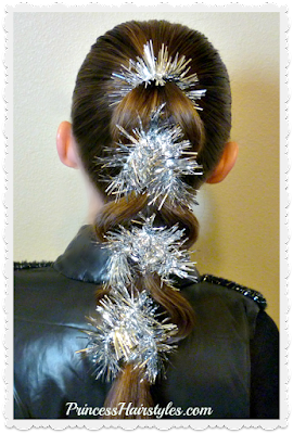 Tinsel pull through braid, video tutorial. Cute for Christmas or New Years Eve hairstyle!
