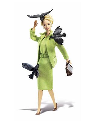 Melanie Daniels (Tippi Hedren) en Los pájaros, como muñeca de Mattel - Cine de Escritor