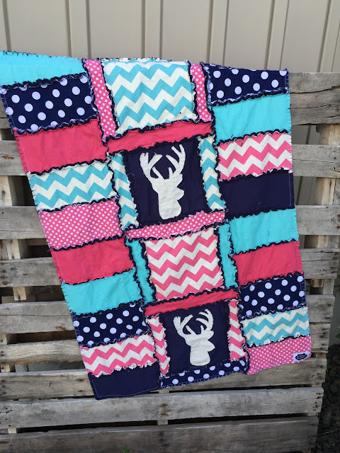 Navy blue stag quilt for baby girl