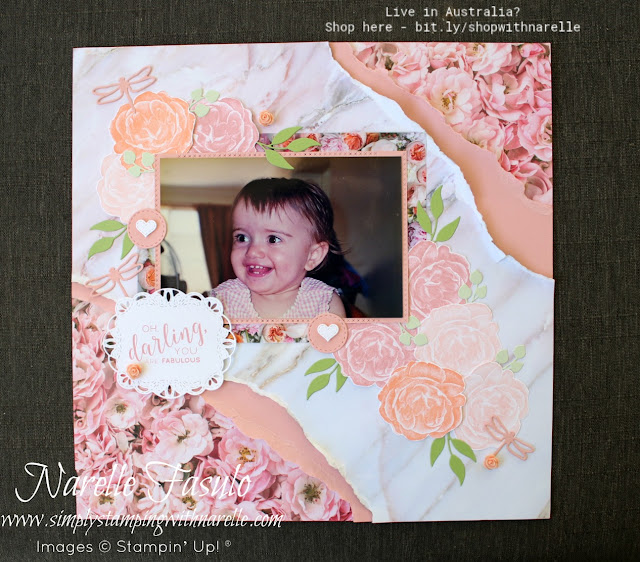 Do you only think of cards when you think Stampin' Up!. Well our products can be used for so much more than that. All the products on this layout can be found in my online Stampin' Up! store. Check it out here - http://bit.ly/shopwithnarelle