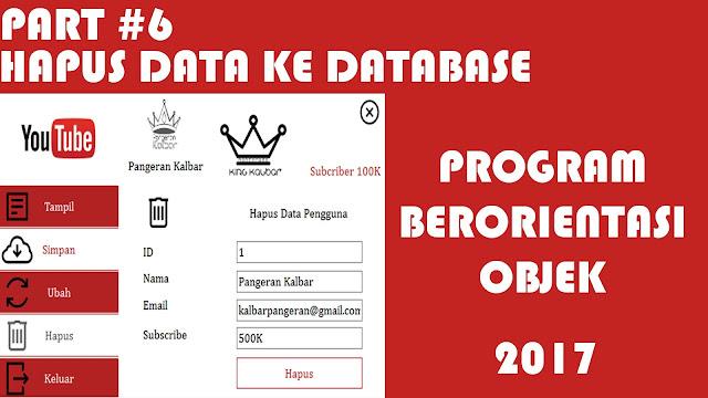 (MySQL) Part 6 Hapus Data Pengguna Pemograman Berorientasi Objek (PBO)
