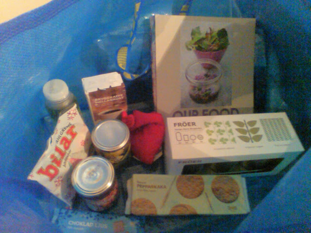 An Ikea blue bag full of small products