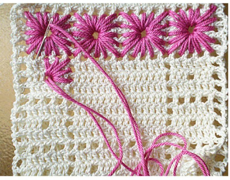 Crochet eyelet embroidery rug pattern
