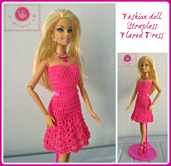 Fashion Doll Strapless Flared Dress Free Crochet Pattern