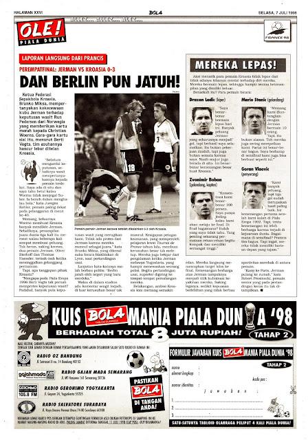 WORLD CUP 1998 QUARTERFINAL GERMANY VS CROATIA 0-3