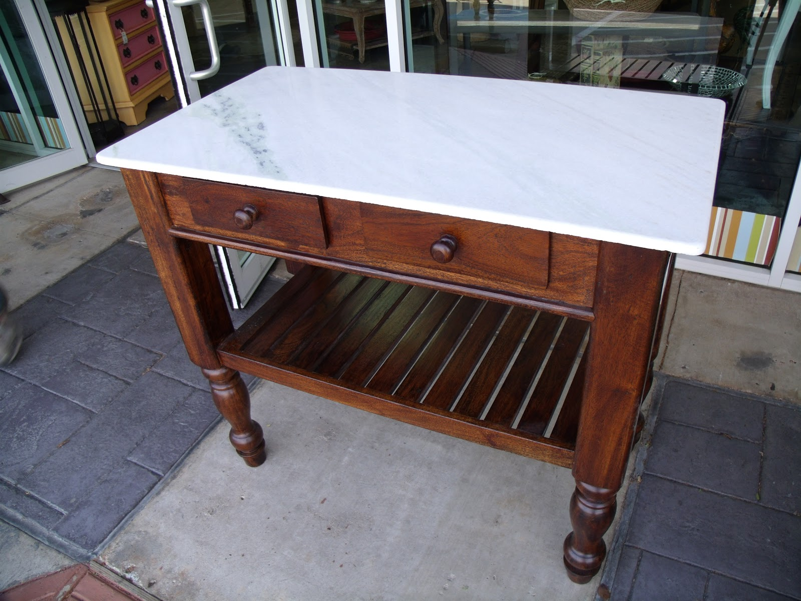 Kitchen Island Marble Top Rooster Decorations For Two Men And A Little Farm New Counter Table